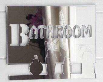 Bathroom Vanity Shelf Acrylic Mirrored Door Sign