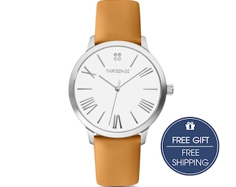 Womens Watch, Silver Watches for Women, Gift for Her, Mothers Day Personalized Gift, Wrist Watch, Leather Watch for Women, Tan Watch Women