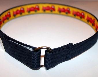 Toddler Belt Navy Combination Firetruck Kids Belt Lined Belt Firetruck Boys belt Hook and Loop Belt