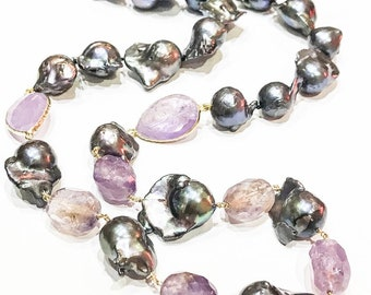Baroque Pearl, Amethyst and Ametrine Necklace