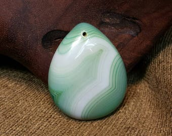 White on Mint Green Striped Agate Druzy