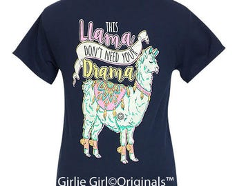 Girlie Girl Originals Drama Llama Navy Short Sleeve T-Shirt