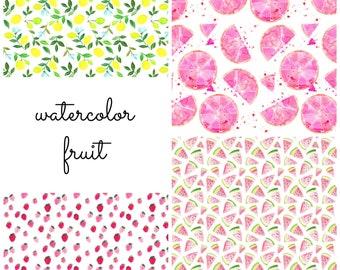 Baby Girl Swaddle | Watercolor Fruit Swaddle, Strawberry Baby Swaddle, Lemon Baby Swaddle, Watermelon Baby Swaddle, Grapefruit Baby Swaddle