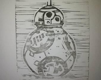 Star Wars BB8 droid A5 print. Linocut. Linoprint.