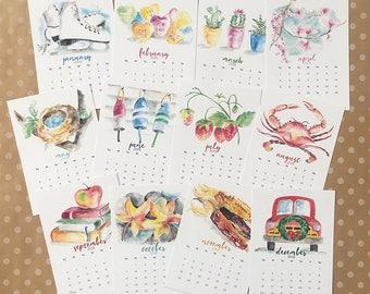 2018 watercolor calendar card set