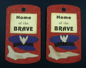 Air Force Dog Tag Scrapbook Embellishments, Military Scrapbook, Card Topper, Veterans Day, 4th of July, Red White & Blue, Patriotic