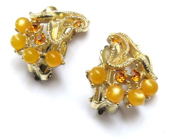 Vintage Clip On Earrings Golden Yellow Beads, Rhinestones,Gold Tone Setting , Marked STAR