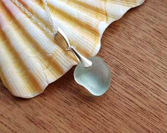 Genuine Sea Foam Sea Glass Necklace, Genuine Irish Sea Glass Necklace, Sea Glass Necklace, Sea Glass Pendant, Beach Glass Necklace
