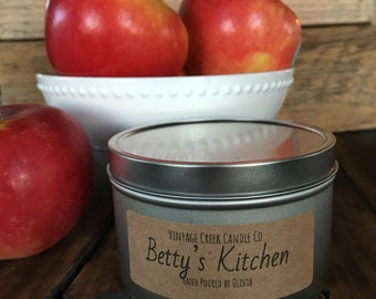 Betty's Kitchen - 8 oz. - Soy Candle, Hand Poured, Tin Jar with Cotton Wick