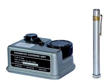 1980s Army Surplus Dosimeter Pen & Charging Unit Set soviet bloc radiological pen british charger radiation dose meter nuclear fallout