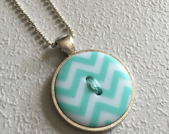 Turquoise Chevron - Button Necklace