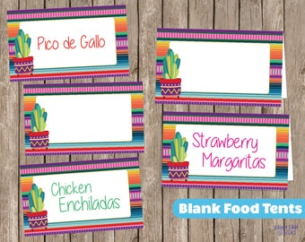 Fiesta Food Tents, Fiesta Food Cards, Fiesta Food Signs, Fiesta Food Labels, Graduation, 1st birthday, Bridal shower, Nacho Average