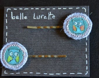 "Hair clips ""2 z' blue owls"""