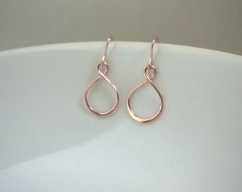 Small rose gold filled infinity earrings; rose gold filled eternity earrings; simple and elegant everyday earrings