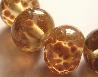 Lampwork Beads Brown Glass Handmade Ericabeads Speckly Neutral Brown (6)