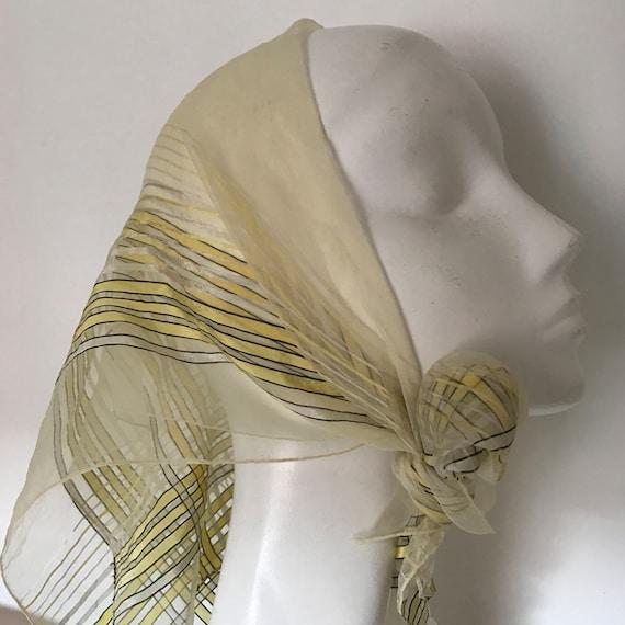1940s scarf striped nylon chiffon and satin lemon yellow black stripes sheer georgette neck tie evening scarf 40s stripey silky square