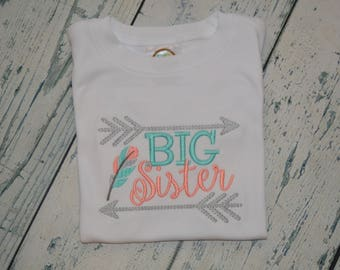 Personalized Big Brother or Big Sister Shirt, Monogrammed Tribal Feather Sibling Shirt