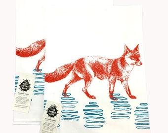 Fox Kitchen Dish Towel Set/2-Cotton Flour Sack-Tea Towel-Orange&Turquoise, Wedding Gift, Hostess Gift, Housewarming Gift
