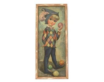 Vintage Mod Goji Juggling Jester Framed Print (E7798)