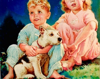 BEDTIME STORY by HUNTER 12X18 Little Girl and Boy with Puppy Dog Art Deco Children's Illustrator 30s 40s Pin-up Childs Room Nursery