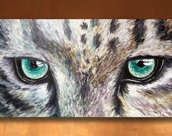 Original Green Eyes of a Snow Leopard Cat Animal Painting Predator or Prey Original Modern Art by Chantel Keiko 48x30