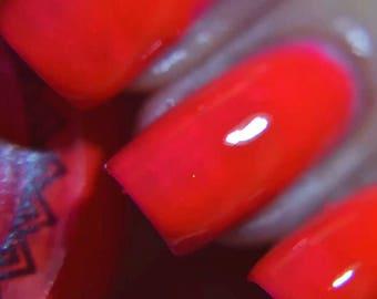 P.O.P Polish Like A Virgin Nail Polish Neon 80's Collection Orange Uv Reflective Blacklight Top Coat Lacquer
