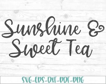 Sunshine & Sweet Tea svg, dxf, png, cricut, cameo, cut file, southern svg, country svg, sweet tea svg, sunshine svg, tea svg, mason jar svg