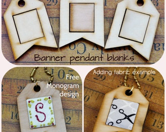 3 Mini banner Pendant Embroidery Blanks - Wood Necklace Craft Supply Jewelry