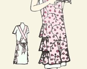Vintage 1920's Reproduction Apron Pattern , # 3328 - PDF instant download