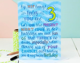 3rd Birthday Card Choice Of Pink Or Blue For Three Year