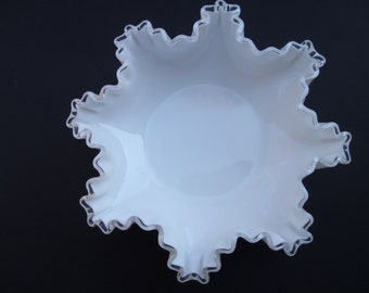 Elegant Vintage Fenton Milk Glass Silver Crest Serving Bowl, White Milk Glass With Clear Glass Trim And Ruffled Edges