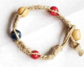 Thick natural red white and blue hemp bracelet/anklet