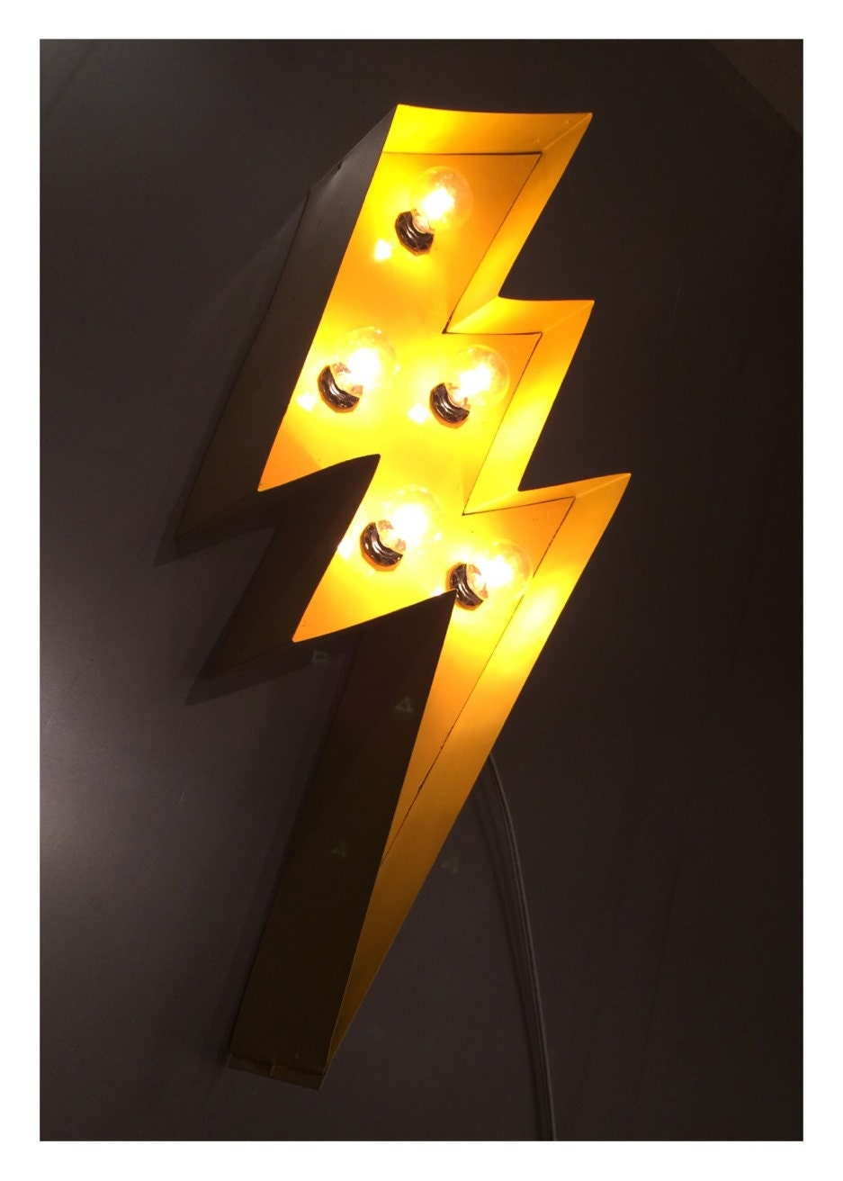 Lightning Bolt Marquee 24 light up sign yellow