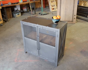 Industrial Upright Steel and Wood Media Credenza Console Record stand