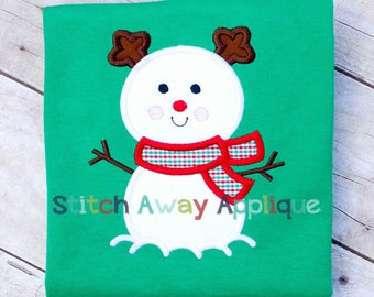 Reindeer Snowman Christmas Machine Applique Design