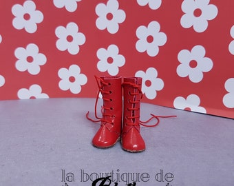 Red leather boots for Blythe doll-red boots on skin for Blythe