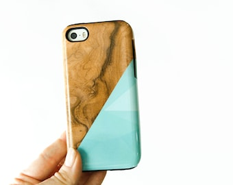 iPhone 6 Case Geometric iPhone Case Wood Print, Faux Wooden iPhone 5S Case, Blue Triangle iPhone 6 Plus Case Geometric