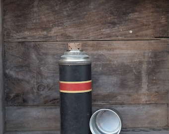 Metal Thermos, Red and Black, Striped, American Thermos, Cottage Decor, Farmhouse Decor, Old Thermos, Csmp Decor, Rustic Decor, Red Striped