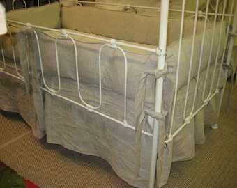 TWINS CRIB BEDDING-Pair of Tailored Crib Bedding Sets-Oatmeal Washed Linen Crib Bedding Sets-Pleated Crib Skirts-Tailored Bumpers