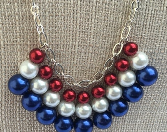America-Patriotic necklace, Bib Necklace, Red White Blue necklace,  Patriotic jewelry, July 4th necklace, Fourth of July jewelry