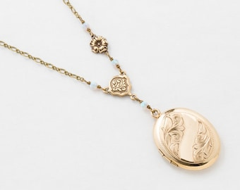 Locket Necklace, Antique Locket Pendant with Flower & Leaf Engraving in Gold Filled with Opal and Flower Charm, Vintage Jewelry, Womens Gift