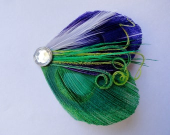 OLIVIA in Emerald Green and Dark Purple with Lime Peacock Feather Hair Clip, Feather Fascinator
