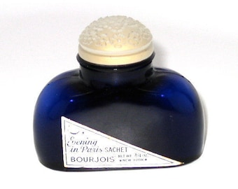 Evening In Paris Sachet, Embossed Glass Floral Top, Cobalt Blue Bottle, Powder Included, Bourjois, 3/4 Oz., New York, c1940