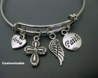 Cross Bracelet / Faith Bangle / Love Heart Bracelet /  Angel Wing  Bangle / Positive Mind / Charm Bracelet /Adjustable Bangle / Expandable