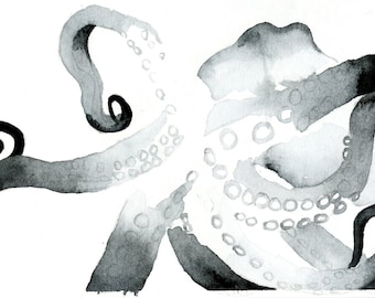 "Octopus Painting - So Now You Knowtopus  - Fine Art Giclee Print 8/50 of 6""x4"" Black and White Watercolor"
