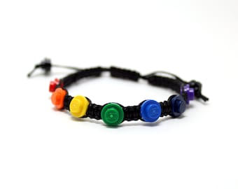 Rainbow Pride Bracelet made from LEGO® Pieces and Black Cord, Gay Pride Bracelet, Rainbow Bracelet