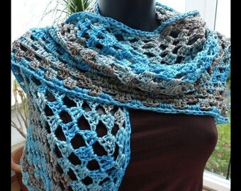 Crochet stole, triangle cloth, pure silk, turquoise-beige