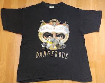 Vintage Michael Jackson t-shirt 1991 Dangerous shirt, concert tour, 1990s Thriller, 90s pop rock, cotton, black, size size L Large