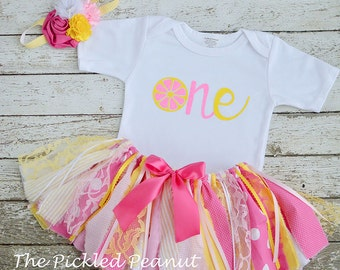 Pink Lemonade 1st Birthday Girl Outfit Lemonade Birthday Outfit Baby Girl Birthday Tutu Cake Smash Outfit Fabric Tutu Baby Skirt Pink Yellow