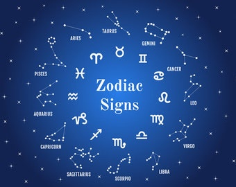 24 zodiac signs, horoscope symbols, digital clip art set, clipart, astrology, icons, EPS, SVG files, commercial use, instant download